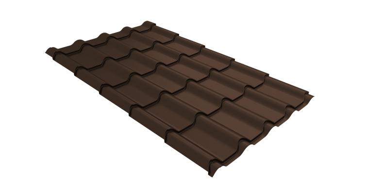 Металлочерепица камея Grand Line 0,5 GreenCoat Pural RR 887 шоколадно-коричневый (RAL 8017 шоколад)